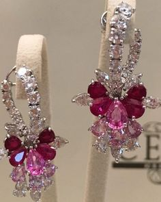 Gem Stone King 925 Sterling Silver Red Created Ruby and White Lab Grown Diamond Earrings For Women Ct Oval – Fine Jewelry & Collectibles India Jewelry, Ear Jewelry, High Jewelry, Diamond Jewelry, Gold Jewelry, Diamond Earrings, Jewellery, Saphir Rose, Pink Sapphire