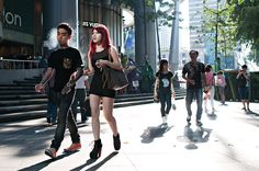 Red hair and tattoo street photography