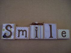 Set of Smile blocks wood handmade home decor by Diamond4boutique, $12.00