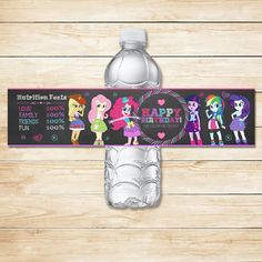 Printable Equestria Girls Water Bottle Labels Chalkboard / Equestria Girls Drink Labels / My Little Pony Birthday / MLP Party / MLP Favors