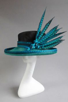 blue and black pheasant hat BY MARIA MARCUS#millinery #hats #HatAcademy