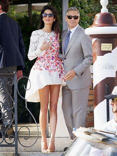 Legs for days! The morning after the wedding, the new Mrs. Clooney showed off her stems in a high-low Giambattista Valli dress.