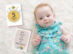 Baby- & Geburtskarten - Meilensteinkarten Biene (Set 28 Karten) für Baby - ein Designerstück von ThePrettyPrintsShop bei DaWanda