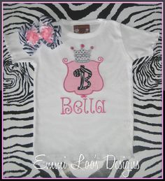 Pink and Zebra Princess Crown Appliqued Girly by EmmiLoosDesigns, $28.00