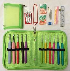 Best 11 Crochet Hooks Sizes 2mm - 8mm Athena's Elements Deluxe Ergonomic Crochet Kit - A Crochet Hook Case Set w Removable Pocket - 40 Crocheting Starter Kit Perfect Tools For Any Crochet Patterns & Yarn (Mint Green) Hooks & Loops http://www.amazon.com/dp/B00SHZRUZ8/ref=cm_sw_r_pi_dp_oVbuwb0FWE0TZ