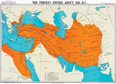 Map of the First Persian Empire (Achaemenid Empire) around 500 B. The Achaemenid Empire, also called the First Persian Empire, was an empire based in Western Asia, founded by Cyrus the Great. Ancient Mesopotamia, Ancient Civilizations, Persian Empire Map, Arte Latina, Bible Mapping, Achaemenid, Ancient Persian, Old Maps, Historical Maps