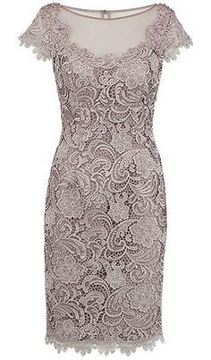 Sheath Bateau Cap Sleeves Short Champagne Lace Mother of the Bride Dress - Party Evening Dresses Mob Dresses, Homecoming Dresses, Short Dresses, Fashion Dresses, Bride Dresses, Prom Dress, Bodycon Fashion, Dress Formal, Dresses Online