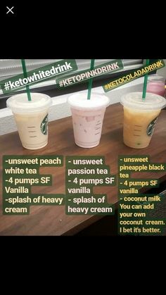 Keto Flu Smoothie- Kick the Keto Flu Faster with this Smoothie Healthy Starbucks, Low Carb Starbucks Drinks, Starbucks Menu, Starbucks Coffee, Yummy Drinks, Healthy Drinks, Healthy Fast Food Options, Low Carb Drinks, Starting Keto Diet