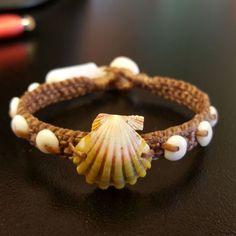 Sunrise and Puka Shell Bracelet, by Ocean Tuff Jewelry