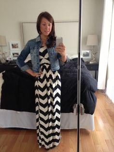 chevron maxi dress and jean jacket