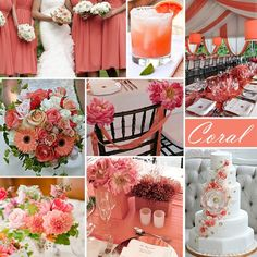 Coral Wedding Color - Coral is a spring and summer favorite. This pink-ish orange color works well with the addition of turquoise or yellow, as well as the neutral white.