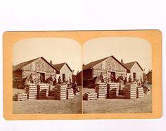 Stereoview Gurnsey Platte Station Colorado #87 65 Tons Silver Bullion Cowboys