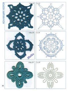 TRICO y CROCHET-madona-mía: Gráficos de Flores a crochet(ganchillo)