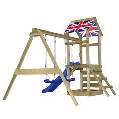 Parque infantil madera escalera tobogán columpios británica S