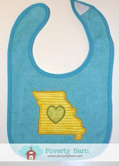 Blue Missouri Love Bib. $8.00, via Etsy.