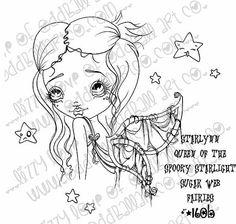 INSTANT DOWNLOAD Digi Stamp Digital Big Eye Art ~ Starlynn Queen of the Spooky Starlight Sugar Web Fairies Image No.160 & 160B by Lizzy Love