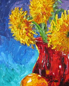 impasto sunflower still life Original Oil by JaniceTraneJones