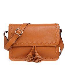 Retro Leather Flap Shoulder Bag with Tassel Detail