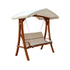 Wooden swing seater canopy chair, perfect for entertaining guests in your backyard.