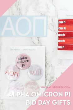 Create the perfect Bid Day gift pack for your Alpha Omicron Pi new members! Choose from three gift bag options: Newbie Love, Pref Present or Spoiled. Alpha Omicron Pi Gifts | Alpha Omicron Pi Bid Day | AOII New Member Gifts | Alpha O Rush Gift Bags | AOII Recruitment | Sorority Bid Day | Sorority Recruitment | Bid Day Bags | Sorority New Member Gift Ideas #BidDayGifts #SororityRecruitment