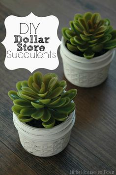 Dollar Store Succulents and jelly jars come together to create the perfect home accent.
