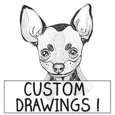 Custom Personalised Dog Illustration  I will draw ANY by mmuffn