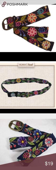 Alma Soul Belt Handmade, fair trade organic belt. Vibrant colors on classic black background. Has adjustable rings. Perfect with jeans or a white peasant skirt. Namaste ✌❤️ Alma Soul Accessories Belts