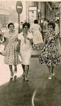Egyptian women walking down a central Cairo street in 1956