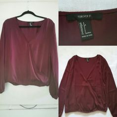 Burgundy/wine Forever 21 blouse sz Small New without tags, In great condition,  No flaws. Cheaper on Mercari same title Forever 21 Tops Blouses