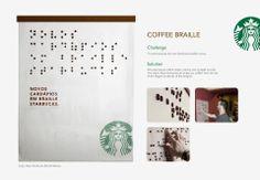 Campaña de Starbucks en braile.