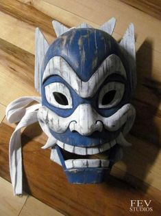 carved Blue spirit mask, being auctioned off for charity http://fevstudios.tumblr.com/post/92687412661/blue-spirit-mask