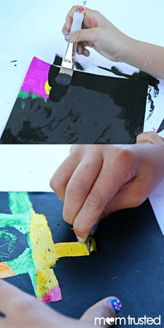 Make your own scratch paper: oil pastels and black acrylic paint