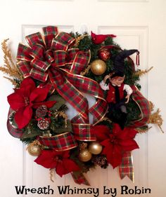 FREE SHIPPING Festive Holiday Wreath With by WreathWhimsybyRobin