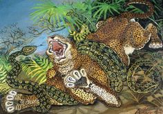"""Antonio Ligabue : """" Leopardo con Serpente """""""