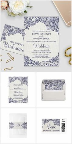 Gorgeous version of the burlap and lace wedding trend! This burlap and navy lace wedding invitation suite features lovely delicate blue lace flowers on a cream white burlap background and a feminine modern calligraphy font for country chic brides. This navy and white wedding collection includes all of the essentials, and more! Invitations, envelopes, stamps, labels, belly bands, five RSVP options, enclosure cards, save the date, thank you cards, and paper for your ceremony and reception.
