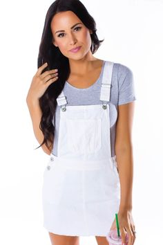 White Denim Overall Skirt White Overalls, Overall Skirt, Dottie Couture Boutique, White Denim, My Style, Choices, Skirts, Store, Dresses
