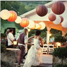 Wholesale - Free shipping 10pcs 8inches Chinese round paper lantern wedding lantern festival decoration $11.79.  Ah ha, they come in fall colors!