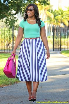Work & Play: Striped Midi Skirt - Curves and Confidence Curvy Girl Fashion, Modest Fashion, Plus Size Fashion, Modest Dresses, Plus Size Dresses, Plus Size Outfits, Dress Skirt, Midi Skirt, Skirt Belt
