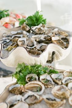 New Wedding Food Ideas Seafood Oyster Bar 17 Ideas Seaside Wedding, Nautical Wedding, Seafood Tower, Seafood Party, Wedding Food Stations, Raw Oysters, Bar Displays, Fruit Displays, Display Ideas