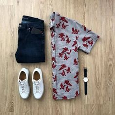 Is this a summer date night approved outfit? Please rate below Shirt: Clarence Jeans: Shoes: Watch: . Mens Style Guide, Men Style Tips, Stylish Mens Outfits, Casual Outfits, Hawaiian Outfit Men, Business Casual Men, Men Casual, Mens Traditional Wear, Fashion Wear