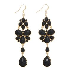 """4"""" gold tone fishhook style earrings featuring a black tone cabochon studded decor."""