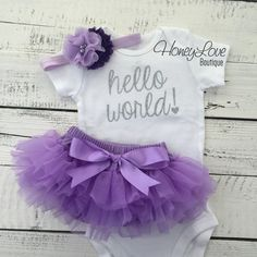 Hello World! Newborn baby girl take home hospital outfit, flower headband, silver glitter shirt bodysuit, lavender purple ruffle bloomers by HoneyLoveBoutique