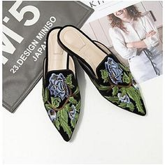 Women's Shoes Suede Comfort Clogs & Mules Flat Heel For Casual Black Brown Green 2018 - $25.19