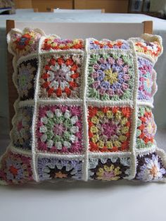 Granny square cushion. Just trying to use up all the cotton I have left. This is going to my sister for her Easter