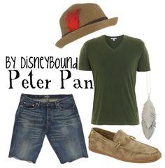 disneybound. Peter Pan. Green tee shirt. Denim Jean shorts. Bermuda shorts. Fedora.