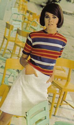 Colleen Corby, 1960s striped knit shirt t-shirt blue red white short sleeves skirt casual sports wear model bob pageboy hair style mod women youth teen college girl