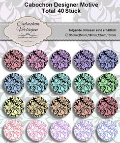 Printable Digital Collage Sheet Circles Cabochon Earring