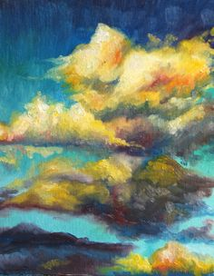 """Clouds in Yellow, Original Oil Painting, Cloud Landscape, 8""""x10"""". $38.00, via Etsy."""