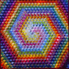 The Swirly Quilt by Kathy's Quilting Corner.  Tumbling blocks, rainbow hues.  2015 Bloggers Quilt Festival.