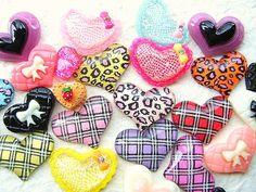 WHOLESALE Kawaii Cabochons 25 Hearts DecoSweets BB Set